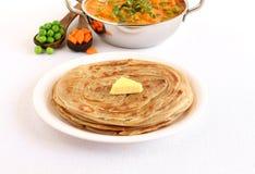 Kerala Paratha Indiański chleb z masło polewą Obrazy Royalty Free