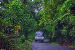 Kerala State Transport Corporation Bus at Vagamon road. Kottayam, Kerala, India- 07 July 2019: Kerala State Transport Corporation Bus at Vagamon road royalty free stock image