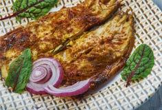 Kerala Style Ayala Fry. Ayala Fry, Mackerel Semolina Fry, Kerala Style cuisine, Traditional assorted dishes, Top view stock photography