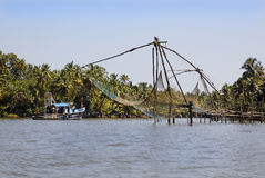 Kerala Waters India fishing nets ferry Royalty Free Stock Photos