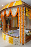 A kerala wedding flower decoration. A kerala hindu malayalee wedding stage decoration with flowers garlands Royalty Free Stock Images