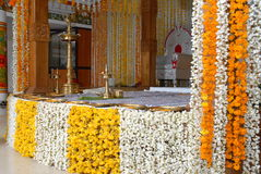 A kerala wedding flower decoration. A kerala hindu malayalee wedding stage decoration with flowers garlands Stock Images