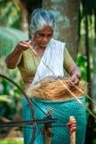 Kerala woman weaving Stock Photography