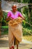 Kerala woman weaving Stock Photo