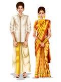 Keralite brölloppar i traditionell dräkt av Kerala, Indien stock illustrationer