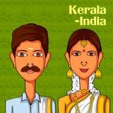Keralite par i traditionell dräkt av Kerala, Indien royaltyfri illustrationer