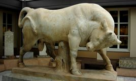 Kerameikos - Athènes Grèce - Taureau de marbre photographie stock libre de droits