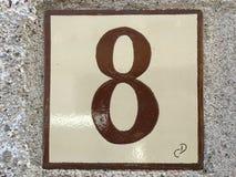 Keramikziegel mit Nr. acht 8 Lizenzfreie Stockbilder