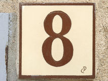 Keramikziegel mit Nr. acht 8 Lizenzfreies Stockfoto