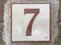 Keramikziegel mit Nr. sieben 7 Lizenzfreies Stockfoto
