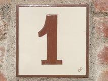 Keramikziegel mit Nummer Eins 1 Lizenzfreie Stockbilder