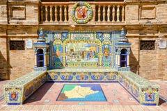 Keramische Bank mit einer historischen Beschreibung von Barcelona Stockfoto