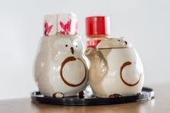 Keramische Flasche der Eule für Sojasoße und Zahnstocher, japanisches tablewa Stockbilder