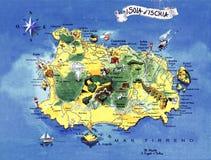 Keramische Majolika, welche die Karte von Ischia darstellt Lizenzfreie Stockbilder