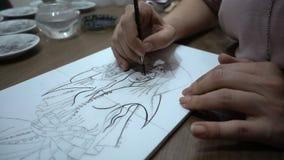 Keramische tegel het schilderen stock videobeelden