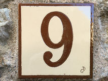 Keramische tegel met nummer negen 9 Royalty-vrije Stock Afbeeldingen