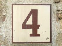 Keramische tegel met nummer vier 4 Royalty-vrije Stock Foto's