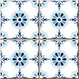Keramische tegelpatroon 316 elegante blauwe ronde dwarsbloem Royalty-vrije Stock Afbeeldingen