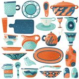 Keramische Tonware Hauptküche lokalisierter rustikaler Rahmtopf des dekorativen Tellers des Tonwarengerätgeschirrwerfertopfschüss stock abbildung