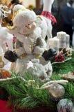 Keramische Zahl des Schneemannes Stockfoto
