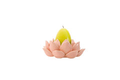 Keramischer Kerzenhalter in Form einer rosafarbenen Blume Lizenzfreie Stockbilder
