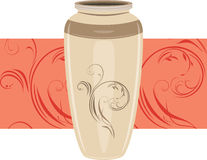 Keramischer Vase auf dem dekorativen Rand Stockfotos