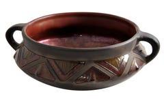 Keramischer Vase mit einem Muster auf einem weißen Hintergrund, Lizenzfreie Stockfotos