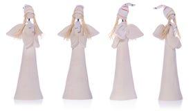 Keramischer weißer Engel mit dem langen weißen Haar und einer Kappe Lizenzfreie Stockfotos