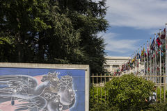 Keramisches Mosaik Vereinter Nationen Genfs die Schweiz gemacht vom Schweizer Künstler Hans Herni Stockbilder
