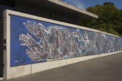 Keramisches Mosaik Vereinter Nationen Genfs die Schweiz gemacht vom Schweizer Künstler Hans Herni Lizenzfreies Stockfoto