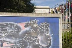 Keramisches Mosaik Vereinter Nationen Genfs die Schweiz gemacht vom Schweizer Künstler Hans Herni Stockfoto