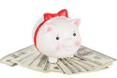 Keramisches weißes Schwein moneybox Stockbilder