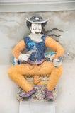 Keramisk cowboystaty på Wat Pariwat, Bangkok Arkivfoto