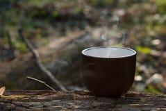 Keramisk kopp med dunsten fotografering för bildbyråer