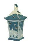 keramisk lampa för blått stearinljus Royaltyfri Bild