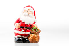Keramisk stearinljushållare i form av Santa Claus Fotografering för Bildbyråer