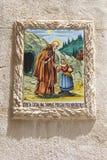 Keramisk tegelplatta av Santa Catalina, beskyddare av Valldemossa, Majorca Royaltyfria Foton