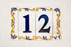 Keramisk tegelplatta, nummer 12 Royaltyfria Foton