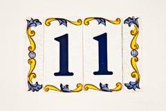 Keramisk tegelplatta, nummer 11 Arkivbild