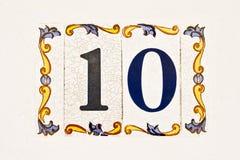Keramisk tegelplatta, nummer 10 Arkivbild