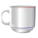 Keramisk vit kopp på vit bakgrund Arkivfoto