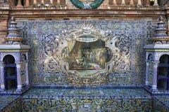 Keramiska azulejos i Plaza de Espana, Seville, Andalusia, Spanien Royaltyfri Foto