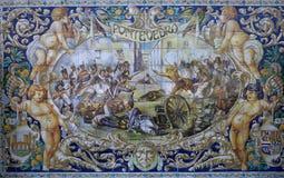 Keramiska azulejos i Plaza de Espana, Seville, Andalusia, Spanien Arkivbilder