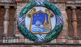 Keramiska azulejos i Plaza de Espana, Seville, Andalusia, Spanien Arkivfoton