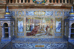 Keramiska azulejos i Plaza de Espana, Seville, Andalusia, Spanien Arkivfoto