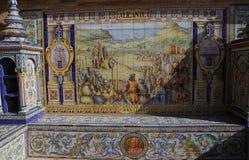 Keramiska azulejos i Plaza de Espana, Seville, Andalusia, Spanien Royaltyfria Foton