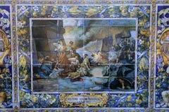 Keramiska azulejos i Plaza de Espana, Seville, Andalusia, Spanien Arkivbild