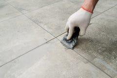 keramiska grouting tegelplattor arkivfoto
