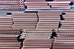 Keramiska konstruktionstegelplattor för röd yttersida royaltyfri fotografi