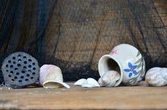 Keramiska krus och skal med lotusblommafrukt Arkivbilder